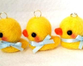 Duck Charm, Duck Planner Charm, Planner Accessories, Rubber Duckie Needlefelt Charm, Handmade Duck Charm, Duckling Charm, Kawaii Bird Charm