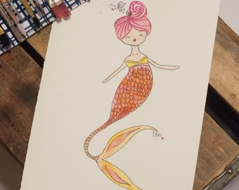 Mermaid Umi Watercolor doll painting 5x7 PRINT
