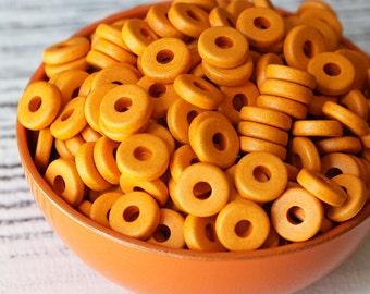 8mm Round Washer Beads - Jewelry Making Supplies -  Mykonos Greek Ceramic Beads - Orange - Choose Your Amount
