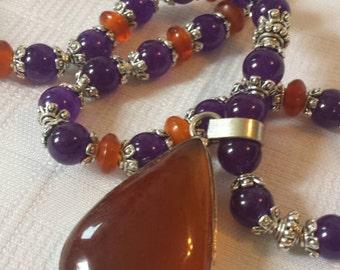 Amazing Amethyst and Carnilen gemstone necklace