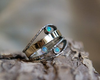 Multistones ring, Boho Ring, silver gold ring, twotone ring, Mother's band, family ring, modern ring - What makes you smile 2 - R1237-1