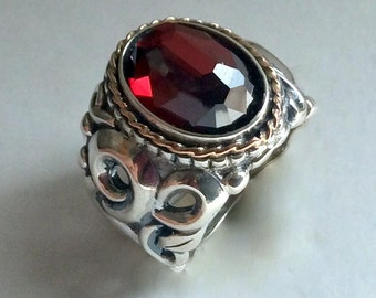 Garnet ring, two tone ring, red ring, ornate ring, bohemian ring, cocktail ring, alternative ring, tribal ring, hippie - Red Light R2234