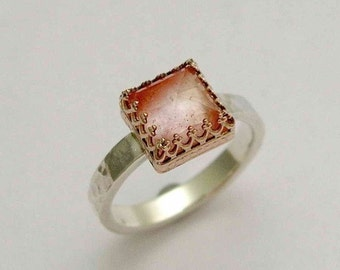 Cherry Quartz Ring , two toned ring, hammered silver ring, Gold crown ring, solitaire ring. engagement ring, cherry  - Rose kingdom R1095H-1