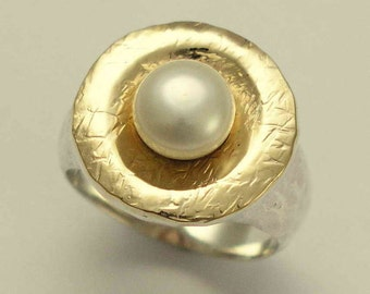 Sterling Silver Ring, yellow gold ring, engagement ring, single pearl ring, hammered ring, statement ring, two tone - Love is around R1235G