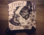 "Original 4"" x 4"" pen and ink crosshatch drawing: 'Forget-Me-Not' (Boston Terrier, forget-me-not flowers)"
