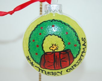 Hand Painted Snoopy's Woodstock Christmas Tree Ornament