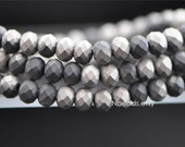 "Glass Faceted Rondelle 4x6mm, Chinese Crystal beads, Matte Black Silver- (BZ06-132)/ 16"" full strand/ 95 beads"