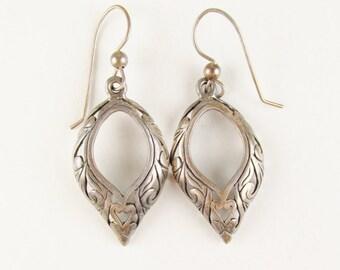 Vintage Earrings: Ornately Carved Sterling Dangle Earrings