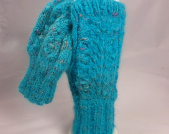 Turquoise Angora and Silk Fingerless Goves