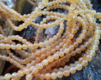 Destash Jade Frosted Amber Round Beads 4mm 17 in strand