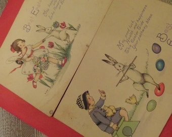 Vintage EASTER Postcards 1920s pretty pair
