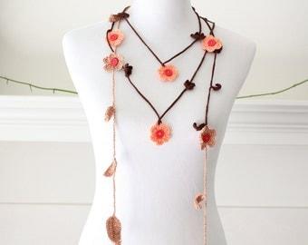 Crochet Brown, Orange, Tan Flower Lariat, Necklace, Scarf, Scarflette