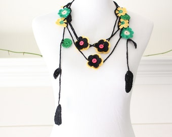 Crochet Black Yellow Green Lariat Necklace, Scarf, Scarflette