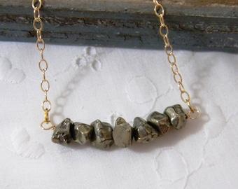 Pyrite Necklace, Pyrite nugget necklace, Gemstone Bar Necklace