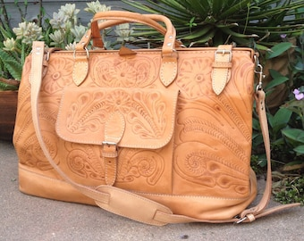 Vintage TOOLED LEATHER travel bag / Mexican hand tooled leather / Bohemian weekender suitcase