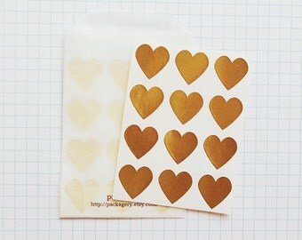 Gold Heart Envelope Seal Stickers - Heart-Shaped Stickers, Heart Labels, Metallic Gold, Gold Heart, Gift Wrapping