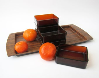1970s French vintage divided TRAY ⎮snack appetizer party stackable dish bowl⎮Vereco smoked glass⎮ faux wood plastic⎮mid century modern