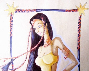 1990s OOAK original DRAWING⎮pin up woman⎮watercolor pencil pastel on paper⎮blue red yellow⎮heroic fantasy video games⎮wall decor⎮collectible