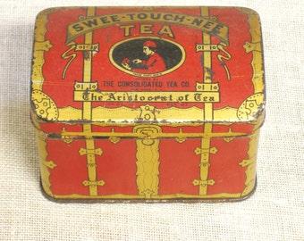 Antique Tea Tins, Small, Chest, Tea Tin Box, Metal Box, Storage, Organization, Red, Trinket Box, Advertising, Packaging