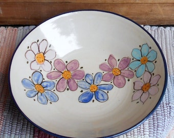 Wildflower garden pottery dish - handmade pottery serving dish - pottery serving bowl - Ceramic shallow Dish - Ceramic bowl - wlf110328