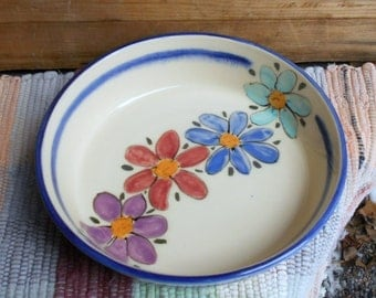 Wildflower garden ceramic serving plate - handmade pottery plate - pottery serving plate - ceramic shallow bowl - tallpinespottery -110804