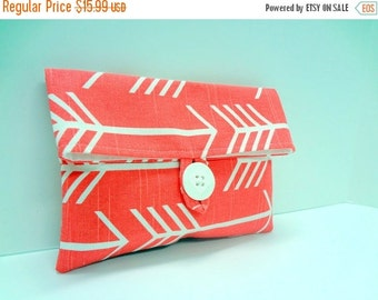 ON SALE Pink Arrow Clutch Cosmetic Bag