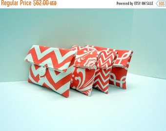 ON SALE Coral Bridesmaid Clutches Set of 4