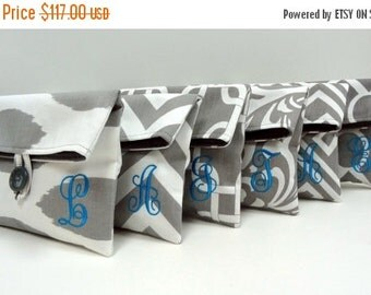 ON SALE Personalized Bridesmaid Clutches Set of 6 Gray Monogrammed Bags, Great Bridesmaid Gifts