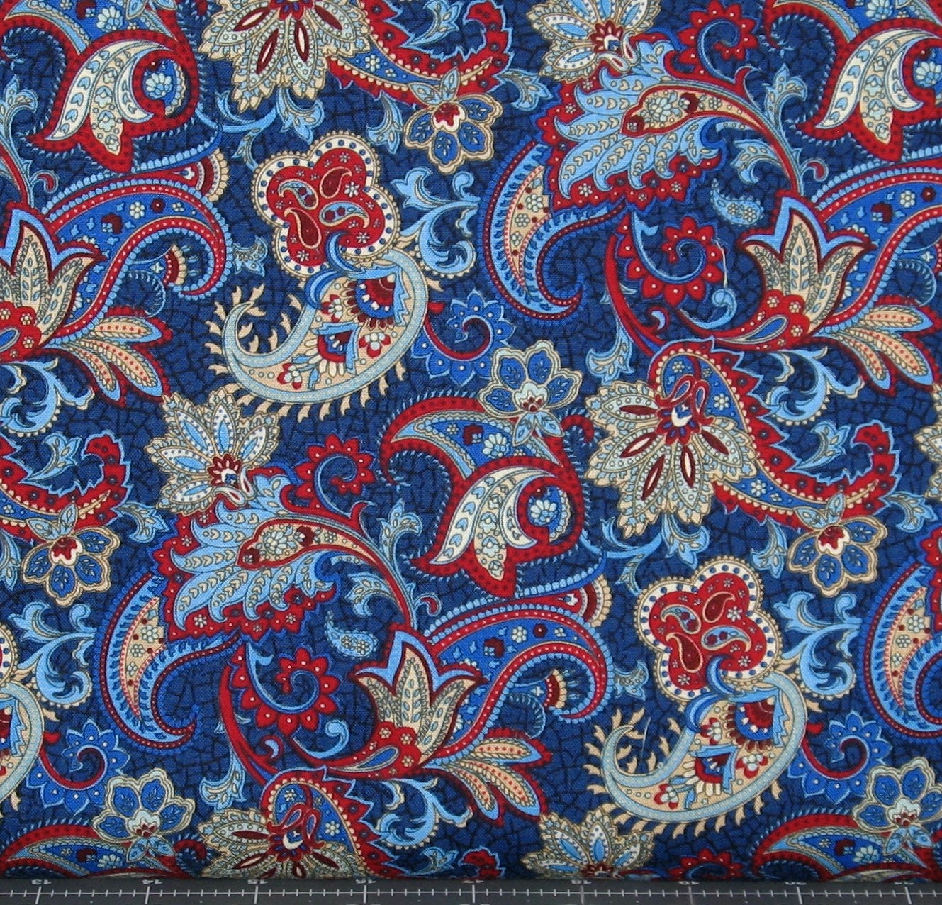 Red white blue paisley cotton quilt fabric for sale by for Quilting fabric sale