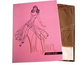 Box of 1950s 3 Pairs Seamed Nylon Stockings Color Rosette Size 9 Val Sheer First Quality Dernier 51 Gauge