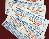 4 Vintage 1940s Raffle Tickets for a 1941 Plymouth Sedan - Swedish Home for the Aged - Brookyn - Prospect Hall Memorabilia
