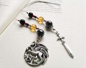 Game of Thrones HOUSE TARGARYEN Gift Bookmark Beaded Book Thong Rear View Mirror Fantasy Three-Headed Dragon Sword Charms Gift Reading
