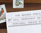 Custom Address Stamp, Return Address Stamp, Wedding address stamp, DIY Wedding, Typewriter,  Self inking or Eco Mount stamp- Archer