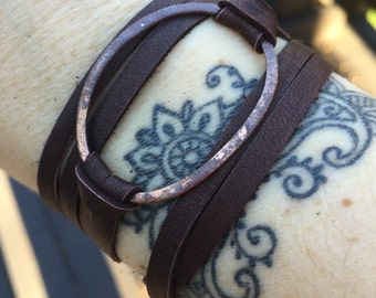 Double Wrap Brown Leather Bracelet - Antiqued Copper Oval