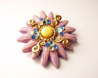 Vintage French Designer Flower Pin by Jacky De G Purple Flower Pin 3 Inches