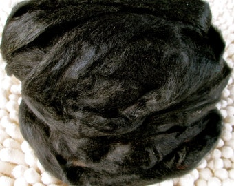 Pitch Black Recycled Sari Silk Sliver for Art Yarn Weaving Spinning