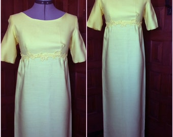 1960s Lemon Yellow Gown with Detachable Train