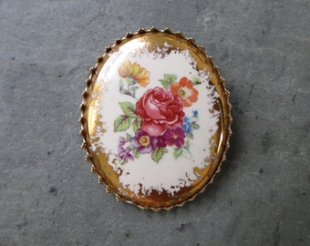 Vintage Floral Brooch - Midcentury Costume Jewelry Pin - Pink Rose with Gold Filigree