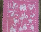50s Bates Bedspread Mother Goose Crib Blanket Pink White Cotton 53 x 46