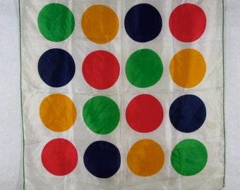 Vintage Polka Dot Scarf Off White Green Hem Glentex Japan Primary Colors Polyester