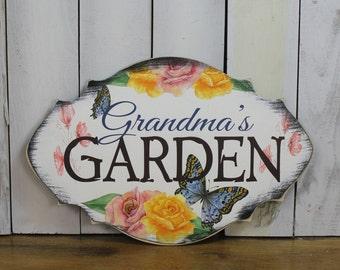 Grandma's GARDEN  Decorative Sign w/stake/Garden Sign/Mother's Day/Rose/Butterfly/Wood Sign/Garden/ Flowers/ Gardener/