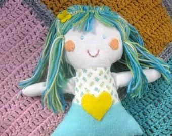 Fabric doll/Handmade soft cloth doll/Rag Doll/Whimsical blue haired natural wool stuffed doll