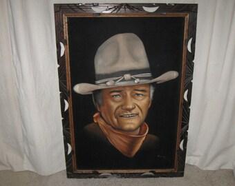 Vintage John Wayne Cowboy Ranch Western Large Black Velvet Painting Signed 28x40