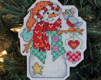 Handmade Snowman with Hanging Hearts Cross Stitch Christmas Ornament