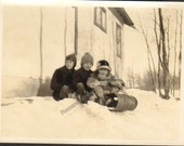 Three for the Road Vintage Photo of Three Children on a Bobsled K19103