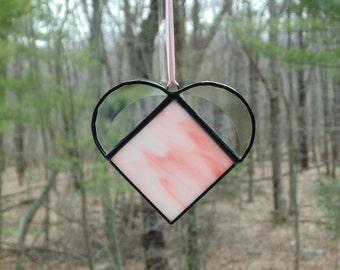 Stained glass heart suncatcher, wispy pink heart, hanging heart art, gift under 15, Mothers day gift, glass suncatcher ornament