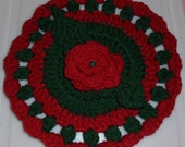 Christmas Poinsettia doily//trivet//decoration//red//green