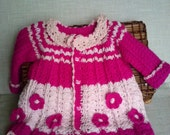 cardigan newborn , Baby sweater, Baby Clothes,  pink  sweater baby , crocheted pink cardigan with flowers READY TO SHIP 3-9 month