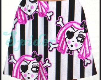 Pirate Dolly A Line Striped Skirt Black and White Stripes  with Hot Pink Pirate Dolls Spooky Cutie Stretchy Skirts