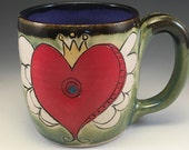 Heart, Sacred Heart, Wheelthrown heart mug, Sacred heart mug, Valentines mug, Love mug, Red Green Purple mug, Heart Wings Crown mug